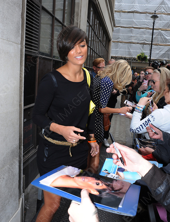 16.APRIL.2012. LONDON<br /> <br /> FRANKIE SANDFORD OF THE SATURDAYS AT THE RADIO 1 STUDIOS IN CENTRAL LONDON<br /> <br /> BYLINE: EDBIMAGEARCHIVE.COM<br /> <br /> *THIS IMAGE IS STRICTLY FOR UK NEWSPAPERS AND MAGAZINES ONLY*<br /> *FOR WORLD WIDE SALES AND WEB USE PLEASE CONTACT EDBIMAGEARCHIVE - 0208 954 5968*