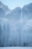 Yosemite Falls on Foggy Spring Morning at Snowstorm, Yosemite National Park, California<br />