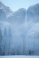 Yosemite Falls on Foggy Spring Morning at Snowstorm, Yosemite National Park, California<br /> <br /> Year Photographed: 2014