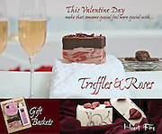 Valentines day ad campaign for Soapcreek Inc. Truffles and roses natural, handmade soaps. Photo of rose petal filled tub, glasses of champagne, truffles, chocolate and bar of handmade Truffles & Roses soap.