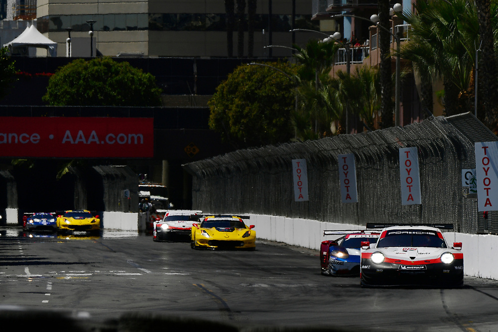 #912 Porsche Team North America Porsche 911 RSR, GTLM: Laurens Vanthoor, Earl Bamber<br /> Saturday 14 April 2018<br /> BUBBA burger Sports Car Grand Prix at Long Beach<br /> Verizon IndyCar Series<br /> Streets of Long Beach CA USA<br /> World Copyright: Scott R LePage<br /> LAT Images