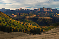 Just after sunrise, light touches the top of Wilson Mesa, Telluride Colorado