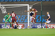 Joe Martin of Millwall is fouled by Nathan Clarke of Bradford City  during the Sky Bet League 1 Playoff Semi-final Leg Two at The Den, London<br /> Picture by Alan Stanford/Focus Images Ltd +44 7915 056117<br /> 20/05/2016