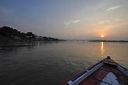 River waterscape at dusk, near Varanasi, Uttar Pradesh, India