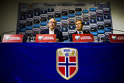 October 8, 2017 - Oslo, NORWAY - 171008 Lars LagerbÅ ck, head coach of Norway, and Svein Graff, Communications director of the Norwegian Football Association (NFF), during press conference after the FIFA World Cup Qualifier match between Norway and Northern Ireland on October 8, 2017 in Oslo..Photo: Fredrik Varfjell / BILDBYRN / kod FV / 150028 (Credit Image: © Fredrik Varfjell/Bildbyran via ZUMA Wire)