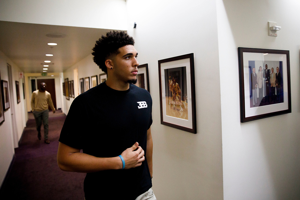 LiAngelo Ball arrives before the introduction of his brother Lonzo Ball at the Laker's Practice Facility on Friday, June 23, 2017 in El Segundo, California. The Lakers selected Lonzo Ball as the No. 2 overall NBA draft pick. © 2017 Patrick T. Fallon