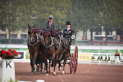 Werner Ulrich, (SUI), Cardiuweel Du Premo, Contesco, GB Rocky v Worrenberg, Mikado N, Rubinell - Driving dressage day 2 - Alltech FEI World Equestrian Games™ 2014 - Normandy, France.<br /> © Hippo Foto Team - Dirk Caremans<br /> 05/09/14