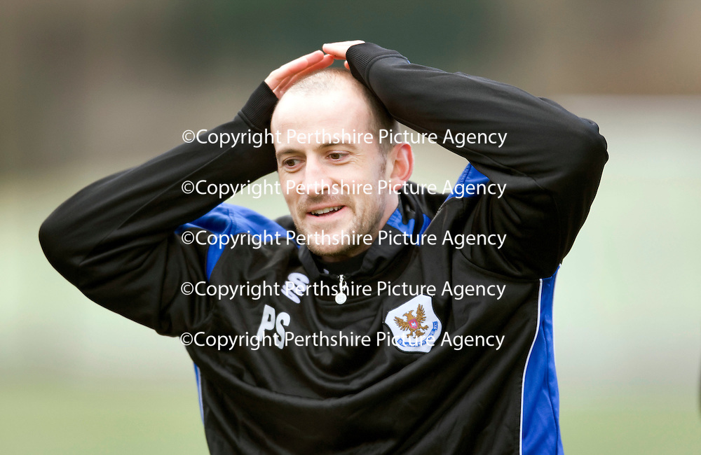 St Johnstone's Paul Sheerin pictured during training ahead of the Scottish Cup tie against Rangers<br /> see story by Gordon Bannerman....Tel: 07729 865788<br /> Picture by Graeme Hart.<br /> Copyright Perthshire Picture Agency<br /> Tel: 01738 623350  Mobile: 07990 594431