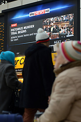 Oscar Pistorius trial. News from Oscar Pistorius trial in South Africa is displayed on a board at the Victoria Station. Paralympian athlete Oscar Pistorius stands accused of the murder of his girlfriend, Reeva Steenkamp. Victoria Station, London, United Kingdom. Monday, 3rd March 2014. Picture by Peter Kollanyi / i-Images