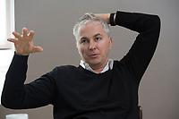 21 MAY 2012, BERLIN/GERMANY:<br /> Christophe F. Maire, Gruender / CEO txtr, Inhaber atlantic ventures, Investor und  Business Angel, waehrend einem Interview, txtr GmbH, Rosenthaler Str., Berlin-Mitte<br /> IMAGE: 20120521-02-041<br /> KEYWORDS: Christophe Maire