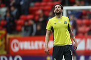 Blackburn Rovers defender Charlie Mulgrew (14) warming up prior to the EFL Sky Bet League 1 match between Charlton Athletic and Blackburn Rovers at The Valley, London, England on 28 April 2018. Picture by Toyin Oshodi.