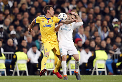 (l-r) Mario Mandzukic of Juventus FC, Daniel Carvajal of Real Madrid during the UEFA Champions League quarter final match between Real Madrid and Juventus FC at the Santiago Bernabeu stadium on April 11, 2018 in Madrid, Spain