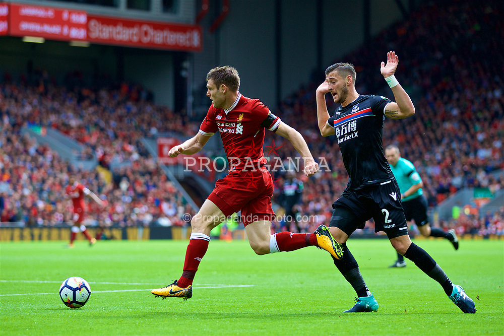 LIVERPOOL, ENGLAND - Saturday, August 19, 2017: Liverpool's James Milner during the FA Premier League match between Liverpool and Crystal Palace at Anfield. (Pic by David Rawcliffe/Propaganda)