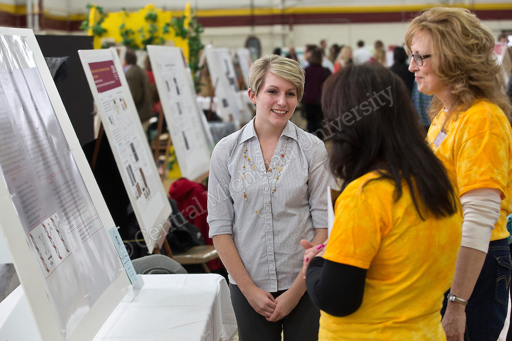 Student Research and Creative Endeavors Exhibition (SRCEE)-- More than 700 students showcased a year's work of research projects and creative endeavors at Finch Fieldhouse at Central Michigan University. Central Michigan University Photo by Steve Jessmore