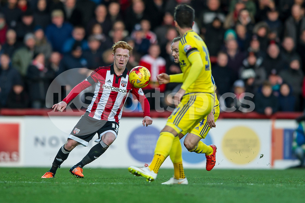 Ryan Woods of Brentford during the Sky Bet Championship match between Brentford and Nottingham Forest at Griffin Park, London, England on 21 November 2015. Photo by Salvio Calabrese.