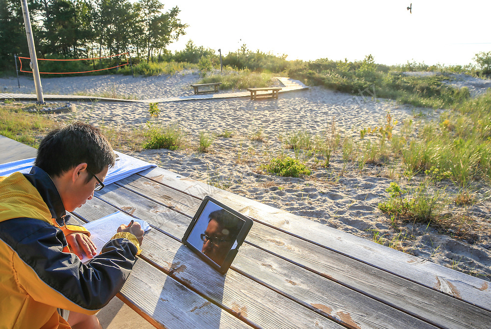 REU students do research while staying at Beaver Island in the summer of 2015. Photo by Steve Jessmore/ Central Michigan University