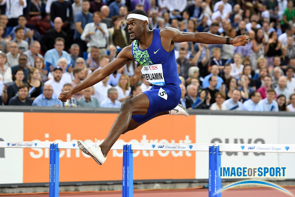Rai Benjamin (USA) places second in the 400m hurdles in 46.98 to become the fourth man to run under 47 seconds in the IAAF Diamond League final during the Weltkasse Zurich at Letzigrund Stadium, Thursday, Aug. 29, 2019, in Zurich, Switzerland. (Jiro Mochizuki/Image of Sport)