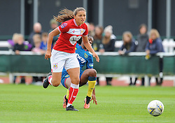 Abi Harrison of Bristol City gets past Vyan Sampson - Mandatory by-line: Nizaam Jones/JMP - 28/04/2019 - FOOTBALL - Stoke Gifford Stadium - Bristol, England - Bristol City Women v West Ham United Women - FA Women's Super League 1