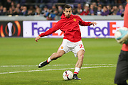 Henrikh Mkhitaryan Midfielder of Manchester United in warm up during the UEFA Europa League Quarter-final, Game 1 match between Anderlecht and Manchester United at Constant Vanden Stock Stadium, Anderlecht, Belgium on 13 April 2017. Photo by Phil Duncan.