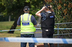 ** CATION CORRECTION Pictures should be dated 06/07/2018**<br /> &copy; Licensed to London News Pictures. 06/07/2018. Salisbury, UK. Police use a drone to scan parts of Queen Elizabeth Gardens in Salisbury, Wiltshire, an area visited by two people who are in critical condition after being exposed to the Novichok nerve agent. Dawn Sturgess, 44, and Charlie Rowley, 45 have been confirmed as having come in to contact with the deadly agent after samples were sent to the MoD's Porton Down laboratory. Former Russian spy Sergei Skripal and his daughter Yulia were poisoned with Novichok nerve agent in nearby Salisbury in March 2018 causing diplomatic tentions between Russia and the UK. Photo credit: Ben Cawthra/LNP