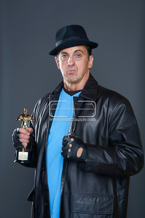 February 22, 2016. Las Vegas, Nevada.  The 22nd Reel Awards and Tribute Artist Convention in Las Vegas. Celebrity lookalikes from all over the world gathered at the Golden Nugget Hotel for the annual event. Pictured is  Rocky Balboa lookalike, Jade Roberts.<br /> Copyright John Chapple / www.JohnChapple.com /