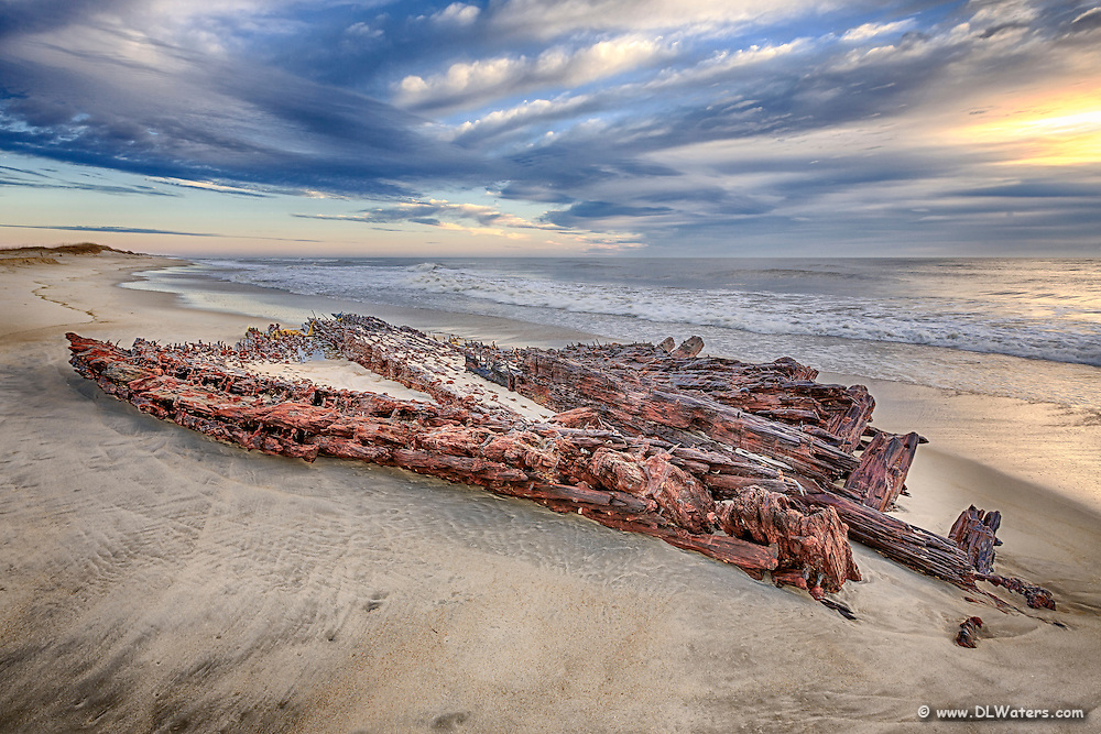 The G. A. Kohler shipwreck found on a Hatteras Island beach near Avon North Carolina.