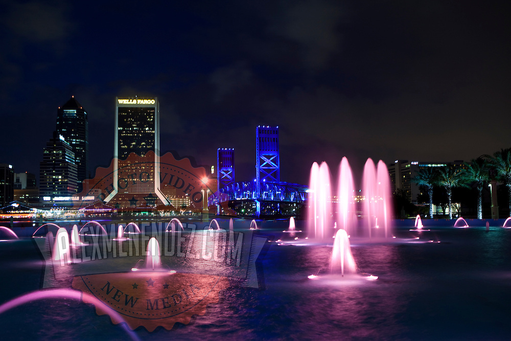 General views of the Jacksonville Landing entertainment area and the Main Street Bridge as seen from the park area at the western end of the bridge, on Thursday, May 30, 2013 in Jacksonville, Florida. ( Photo/Alex Menendez)