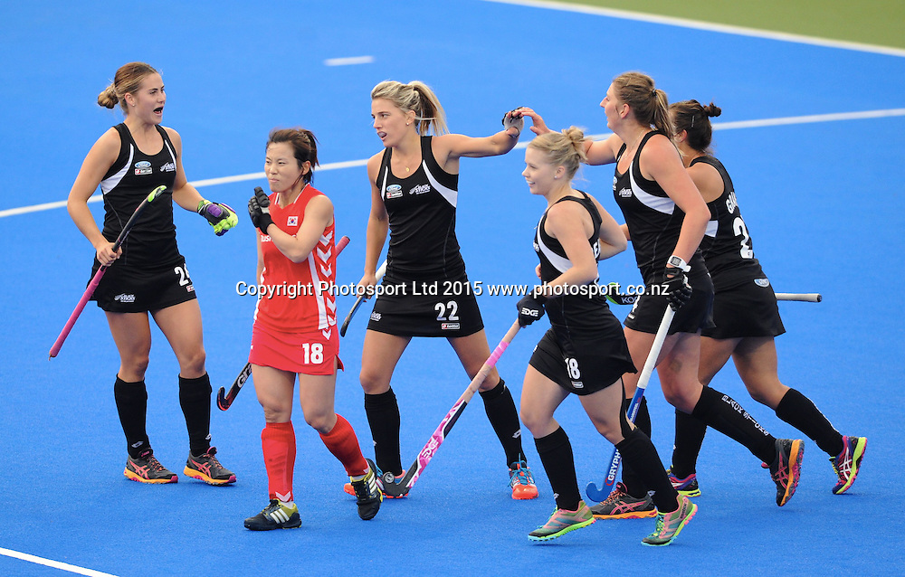 New Zealand Black Sticks celebrate a goal against Korea in the Festival of Hockey, New Zealand Womens Black Sticks v Korea, Unison Sports Park, Hastings, Saturday, April 118 2015. Photo: Kerry Marshall / photosport.co.nz