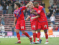 Photo: Lee Earle.<br /> Crystal Palace v Sheffield United. Coca Cola Championship. 22/09/2007. Danny Butterfield (L) and Tom Soares (R) congratulate Ben Watson after he scored the winner for Palace from the penalty spot.