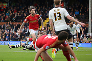 Nottingham Forest midfielder Henri Lansbury (10) scoring his second of game 1-3 during the Sky Bet Championship match between Fulham and Nottingham Forest at Craven Cottage, London, England on 23 April 2016. Photo by Matthew Redman.