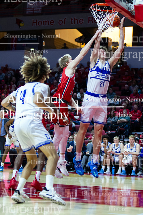 NORMAL, IL - February 22: Liam Robbins gets in past Taylor Bruninga during a college basketball game between the ISU Redbirds and the Drake Bulldogs on February 22 2020 at Redbird Arena in Normal, IL. (Photo by Alan Look)