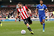 Brentford Forward Neal Maupay (9) during the EFL Sky Bet Championship match between Brentford and Ipswich Town at Griffin Park, London, England on 7 April 2018. Picture by Andy Walter.