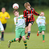 13 Aug 2016:  Gavin McCarron, left, Donegal, in action against Owen Morgan, Galway.  Boys U12 semi-final, Galway v Donegal.  2016 Community Games National Festival 2016.  Athlone Institute of Technology, Athlone, Co. Westmeath. Picture: Caroline Quinn