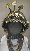Reconstructed head of a Sumerian woman.  This reconstruction suggests the original arrangement of the jewellery worn by Sumerian women in the royal graves and also in some of the graves of individuals at Ur.