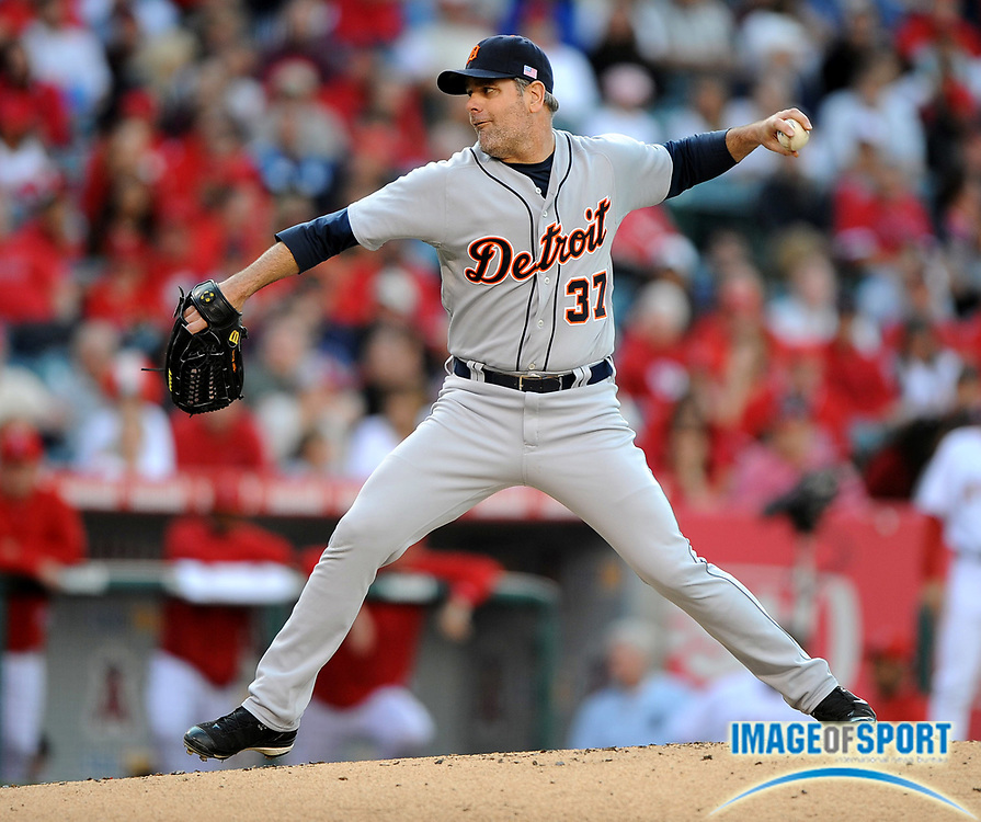 May 26, 2008; Anaheim, CA, USA;  Detroit Tigers starter Kenny Rogers (37) pitches during the game against the Los Angeles Angels at Angel Stadium. Mandatory Credit: Kirby Lee/Image of Sport-US PRESSWIRE