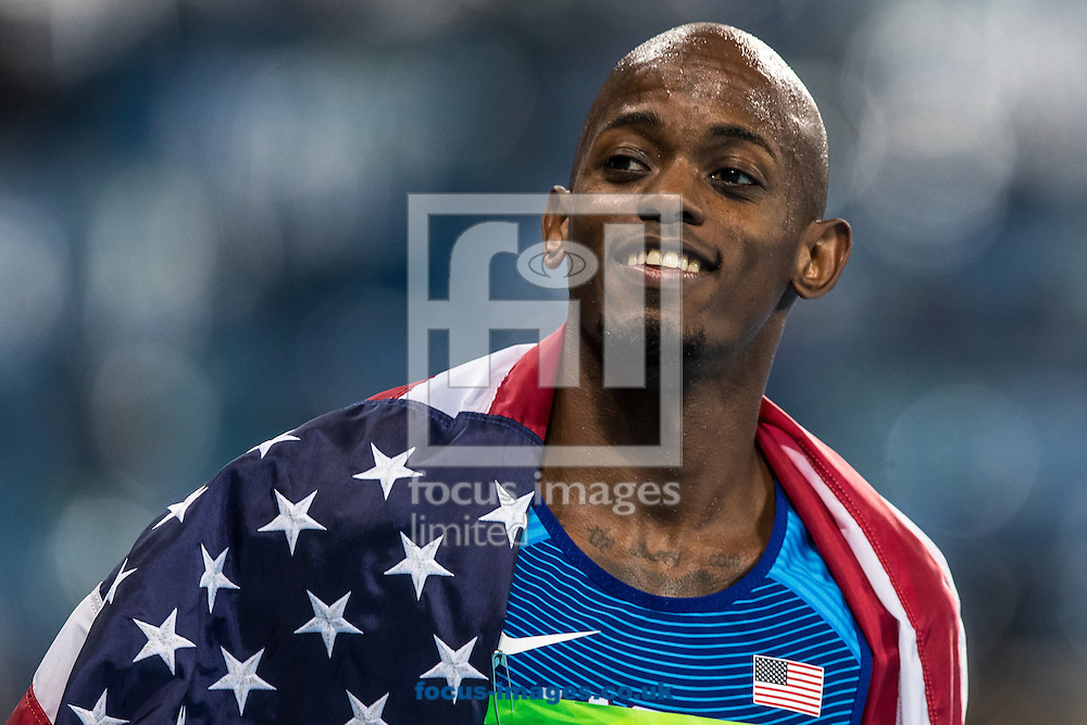 Jeff Henderson of the USA wins the Gold Medal in the Men's Long Jump on day eight of the XXXI 2016 Olympic Summer Games in Rio de Janeiro, Brazil.<br /> Picture by EXPA Pictures/Focus Images Ltd 07814482222<br /> 13/08/2016<br /> *** UK &amp; IRELAND ONLY ***<br /> <br /> EXPA-GRO-160814-5330.jpg