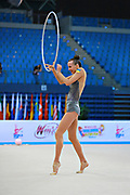 Rizatdinova Anna during qualifying at hoop in Pesaro World Cup at Adriatic Arena on April 10, 2015. Anna was born July 16, 1993 in Simferopol, she is a Ukrainian individual rhythmic gymnast.