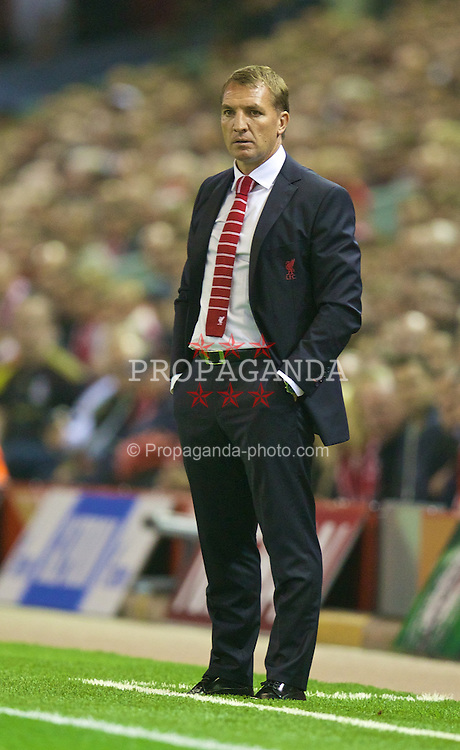 LIVERPOOL, ENGLAND - Tuesday, September 16, 2014: Liverpool's manager Brendan Rodgers during the UEFA Champions League Group B match against PFC Ludogorets Razgrad at Anfield. (Pic by David Rawcliffe/Propaganda)