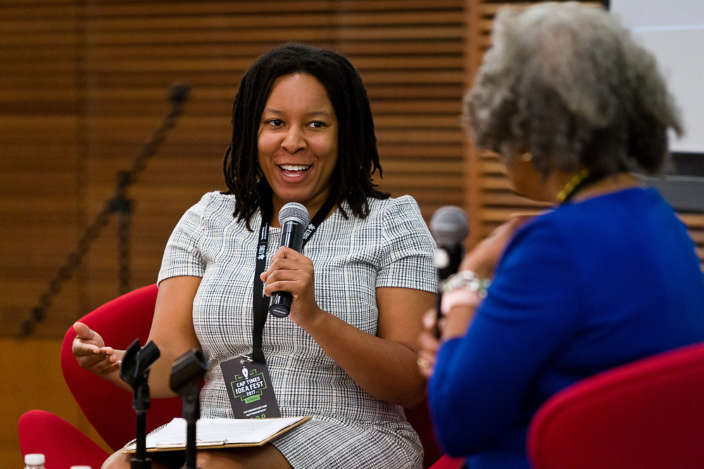 Amber Walker, left, poses a question of Gloria Ladson-Billings during the Cap Times 2017 Idea Fest, Sunday, September 17, 2017