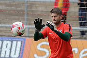 York City goalkeeper Scott Flinders prior to the Sky Bet League 2 match between Newport County and York City at Rodney Parade, Newport, Wales on 5 September 2015. Photo by Simon Davies.