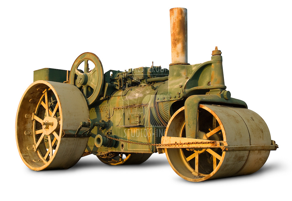Vintage steam roller isolated on white with clipping path