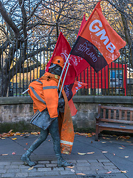 Following the march on Holyrood by BiFab workers who face redundancy the Robert Ferguson statue on the Canongate is adorned with flags and appears to be walking in solidarity with the workers.