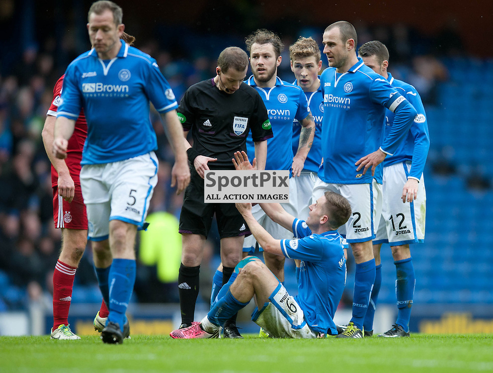 Steven MacLean gets a hand up from referee William Collum. St Johnstone v Aberdeen, William Hill Scottish Cup Semi Final, Ibrox Park, Sunday 13 April 2014 (c) ANGIE ISAC | SportPix.org.uk