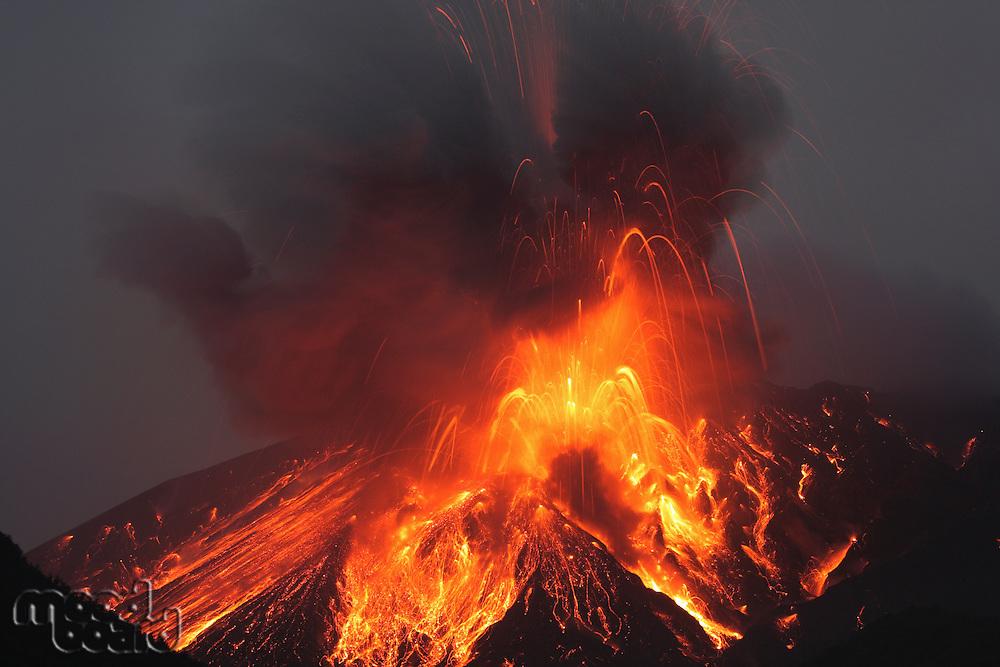 Molten lava erupts from Sakurajima Kagoshima Japan