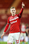 Middlesbrough midfielder George Saville (22) gives a thumbs up to the supporters following the EFL Sky Bet Championship match between Middlesbrough and Charlton Athletic at the Riverside Stadium, Middlesbrough, England on 7 December 2019.