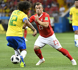ROSTOV-ON-DON, June 17, 2018  Marcelo (L) of Brazil vies with Xherdan Shaqiri of Switzerland during a group E match between Brazil and Switzerland at the 2018 FIFA World Cup in Rostov-on-Don, Russia, June 17, 2018. The match ended in a 1-1 draw. (Credit Image: © Chen Yichen/Xinhua via ZUMA Wire)