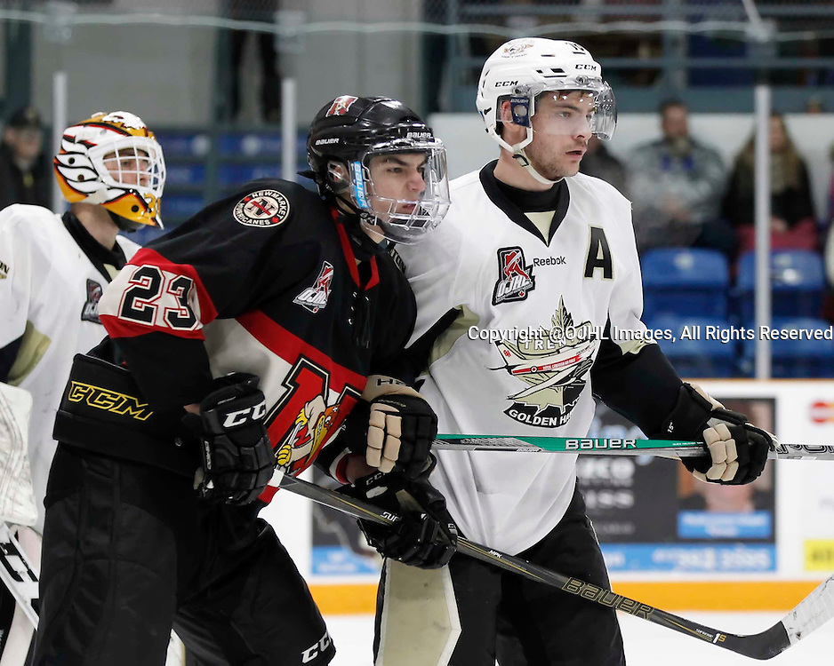 TRENTON, - Mar 1, 2016 -  Ontario Junior Hockey League game action between the Trenton Golden Hawks and the Newmarket Hurricanes. Game 1 of the first round playoff series at the Duncan Memorial Gardens, ON, Newmarket Hurricanes #23 and Blayne Oliver #16 of the Trenton Golden Hawks during the second period<br />  (Photo by Amy Deroche / OJHL Images)