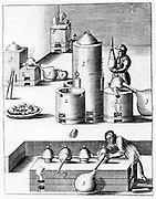 Athanor or 'Slow Harry', a self-feeding furnace maintaining a constant temperature. Centre: 1) Athanor or 'Slow Harry': 2) side chambers containing reagents: 3) glass receivers. Back: 5) furnace heating retort. Bottom: 7) Long furnace. This plate shows the distillation of nitirc acid (also known as Aqua Fortis or Parting Acid) which was used in the refining and assaying of metals.   From 1683 English edition of 'Beschreibung allerfurnemisten mineralischen Ertzt', Lazarus Ercker, (Prague,1574). Copperplate engraving.