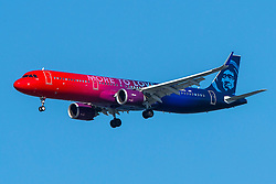 Airbus A321-253N (N926VA) operated by Alaska Airlines with the More to Love livery on approach to San Francisco International Airport (KSFO), San Francisco, California, United States of America