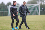 Forest Green Rovers Academy manager Scott Bartlett and Forest Green Rovers assistant manager, Scott Lindsey during the Pre-Season Friendly match between Bishops Cleeve and Forest Green Rovers at Kayte Lane,  Bishops Cleeves, United Kingdom on 11 July 2017. Photo by Shane Healey.